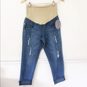 Planet Motherhood Distressed Maternity Crop Jeans